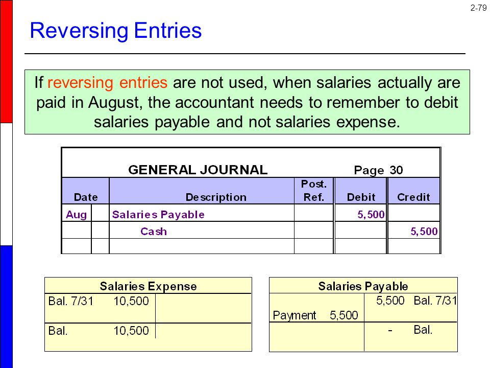 2-79 Reversing Entries If reversing entries are not used, when salaries actually are paid in August, the accountant needs to remember to debit salarie