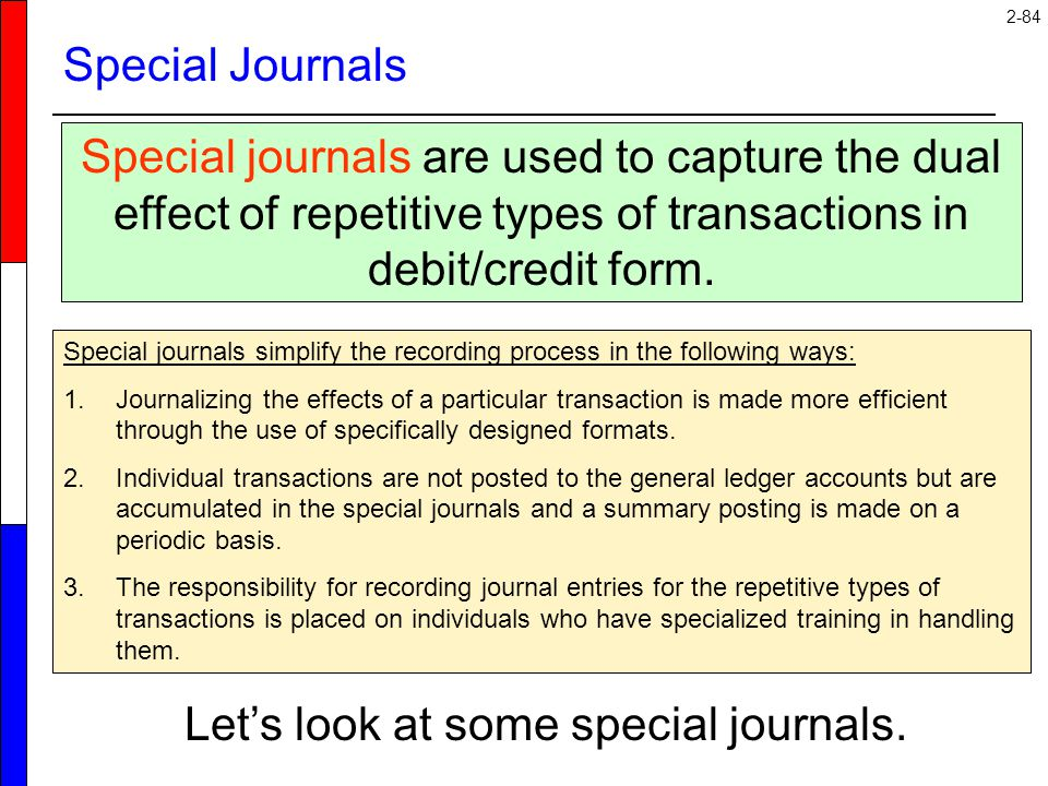 2-84 Special Journals Special journals are used to capture the dual effect of repetitive types of transactions in debit/credit form. Special journals