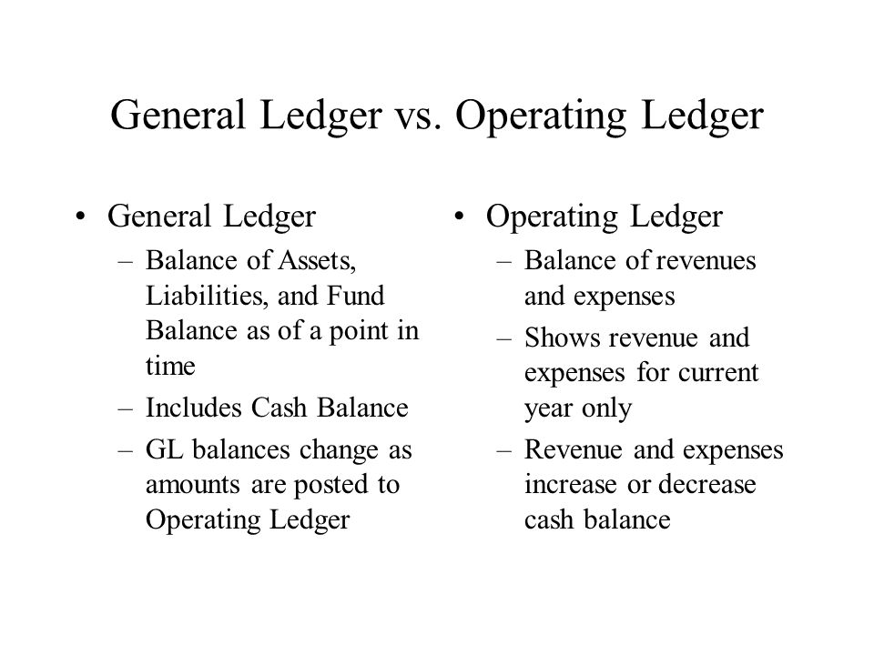 General Ledger vs. Operating Ledger General Ledger –Balance of Assets, Liabilities, and Fund Balance as of a point in time –Includes Cash Balance –GL