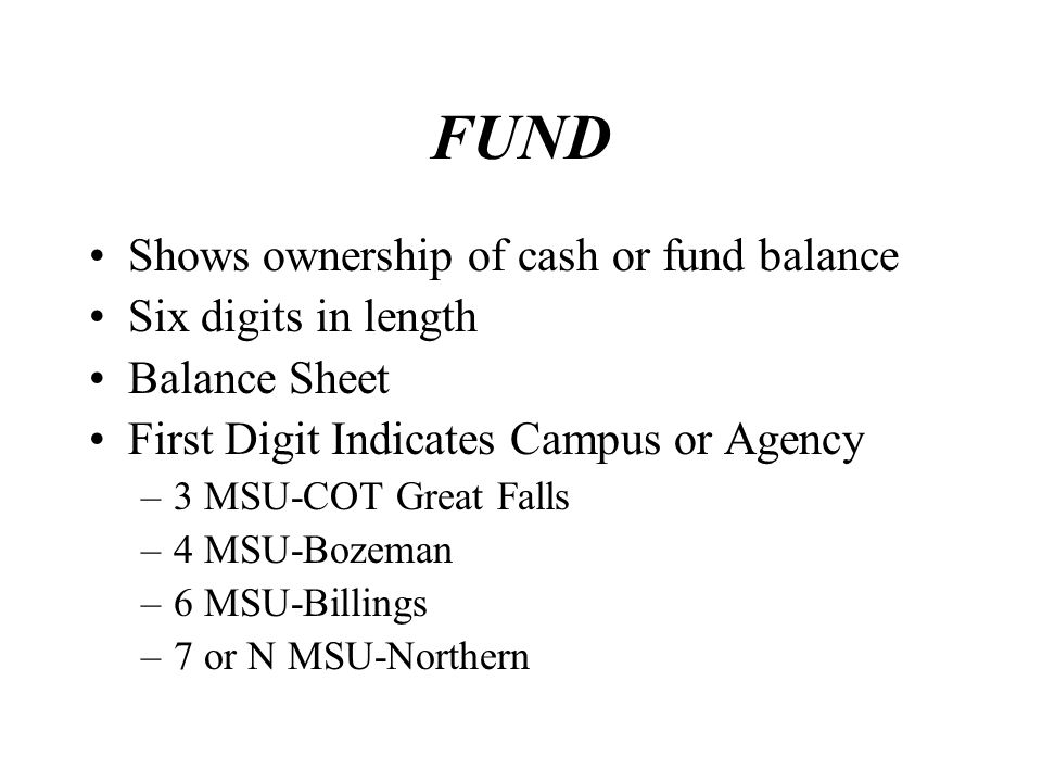 FUND Shows ownership of cash or fund balance Six digits in length Balance Sheet First Digit Indicates Campus or Agency –3 MSU-COT Great Falls –4 MSU-B