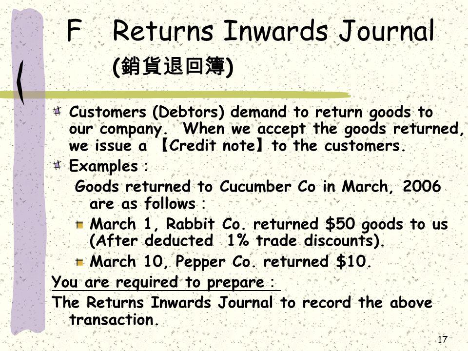 17 FReturns Inwards Journal ( 銷貨退回簿 ) Customers (Debtors) demand to return goods to our company.