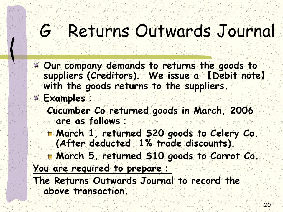 20 GReturns Outwards Journal Our company demands to returns the goods to suppliers (Creditors).