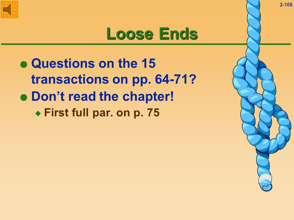 2-104 Loose Ends l Questions on the 15 transactions on pp. 64-71