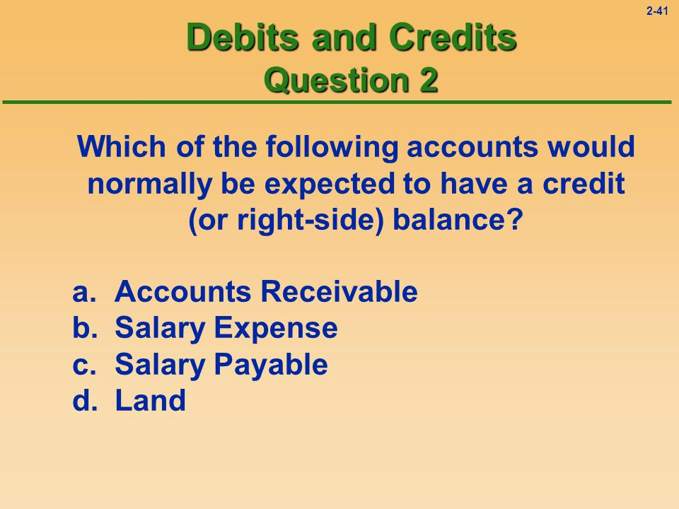2-40 Debits and Credits Solution 1 Which of the following accounts would normally be expected to have a debit (or left-side) balance.