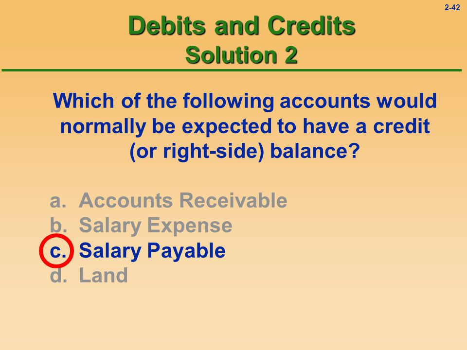 2-41 Debits and Credits Question 2 Which of the following accounts would normally be expected to have a credit (or right-side) balance.