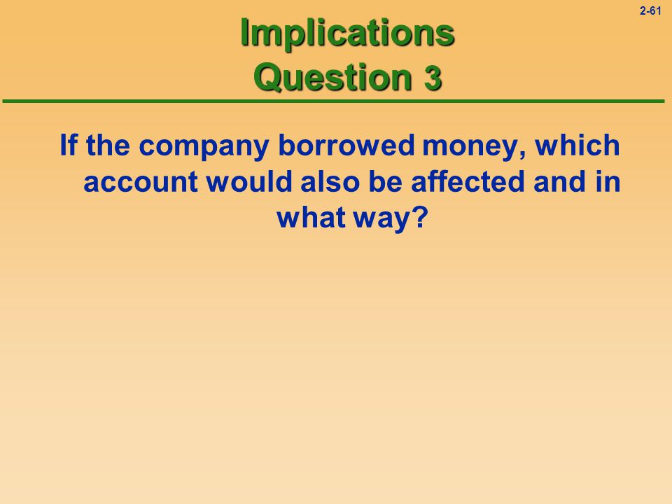 2-60 Implications Question 2 Notes Payable is the account where we record long-term borrowings.