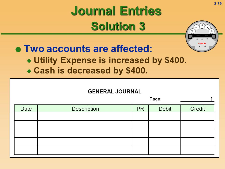 2-78 Journal Entries Solution 3 l Two accounts are affected: u Utility Expense is increased by $400.