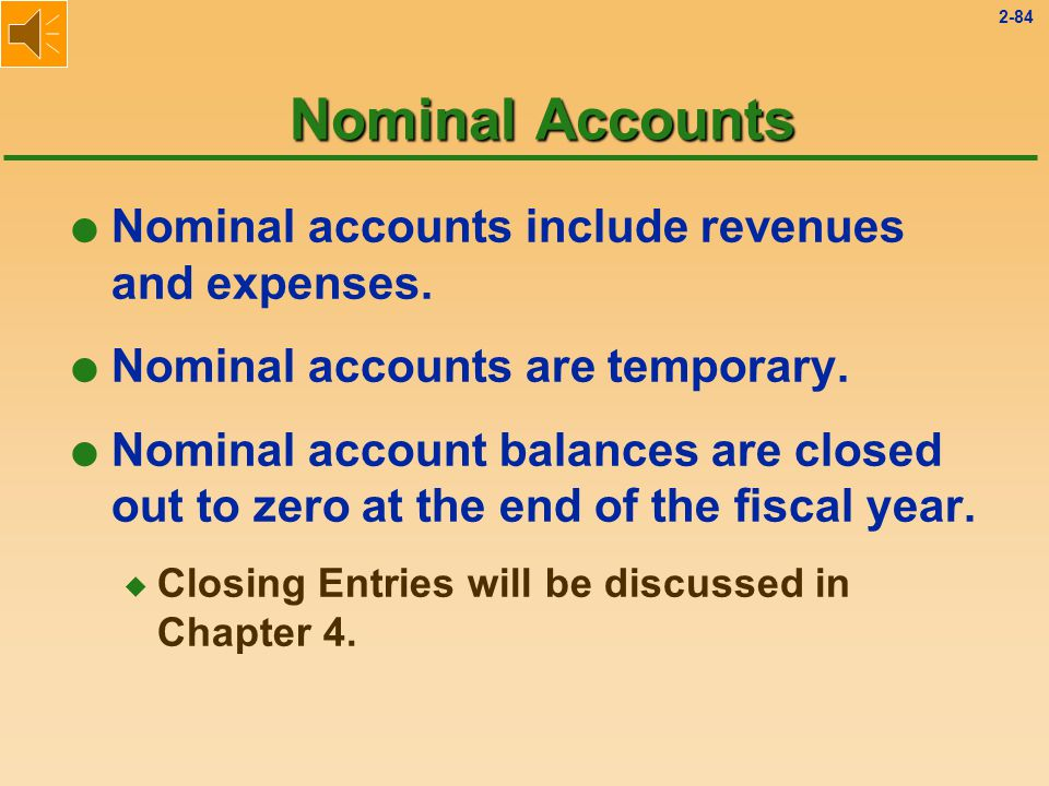 2-83 Real Accounts l This category includes Assets, Liabilities, and Stockholders' Equities (i.e., Balance Sheet accounts) l Accounts are permanent.