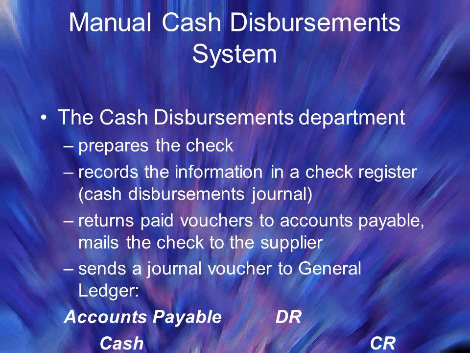 Manual Cash Disbursements System The Cash Disbursements department –prepares the check –records the information in a check register (cash disbursement