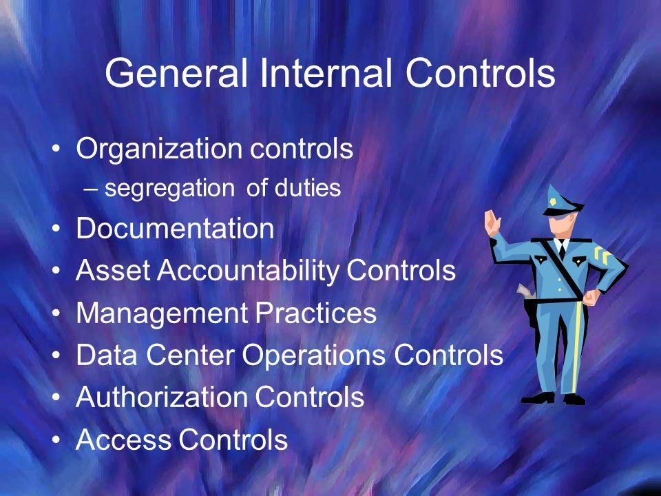 General Internal Controls Organization controls –segregation of duties Documentation Asset Accountability Controls Management Practices Data Center Op
