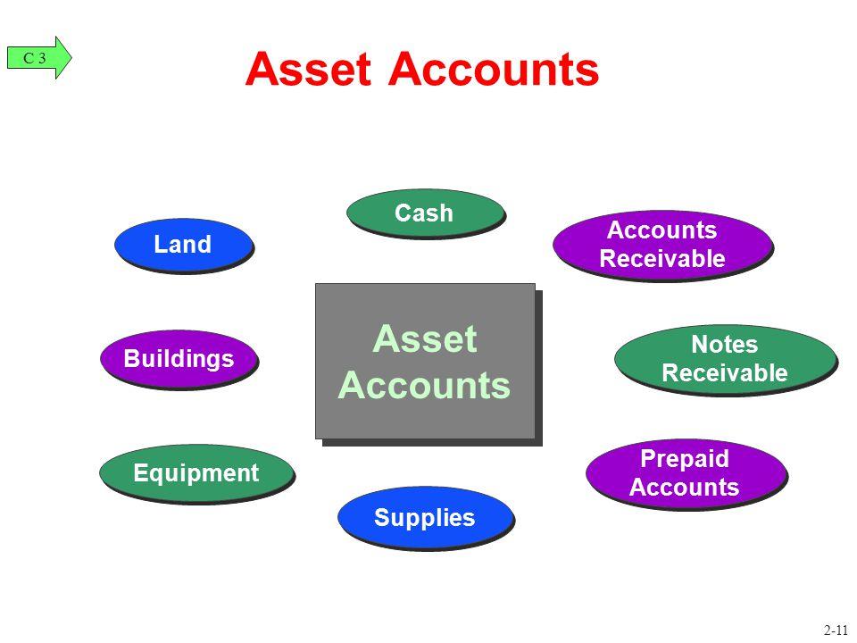 Land Equipment Buildings Cash Notes Receivable Supplies Prepaid Accounts Accounts Receivable Asset Accounts C 3 2-11