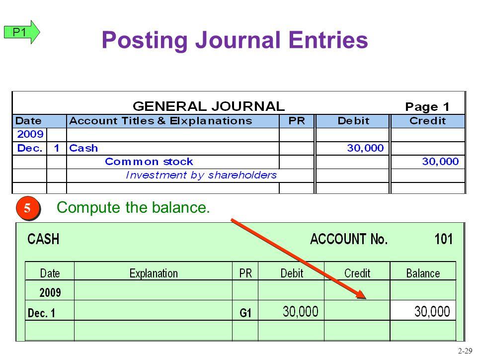 5 5 Compute the balance. Posting Journal Entries P1 2-29