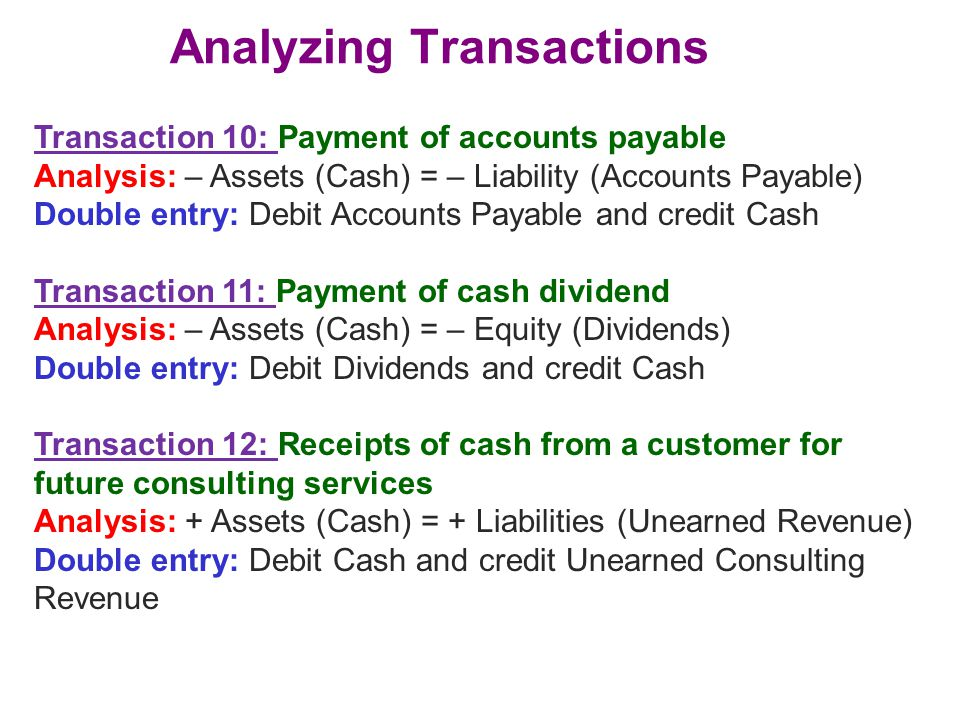 Analyzing Transactions Transaction 10: Payment of accounts payable Analysis: – Assets (Cash) = – Liability (Accounts Payable) Double entry: Debit Acco