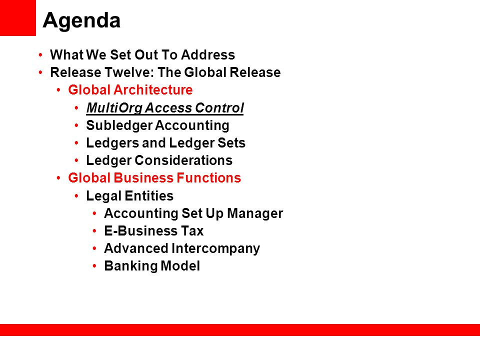 Agenda What We Set Out To Address Release Twelve: The Global Release Global Architecture MultiOrg Access Control Subledger Accounting Ledgers and Ledg