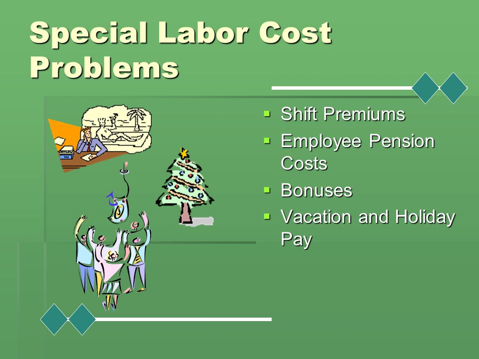 Special Labor Cost Problems  Shift Premiums  Employee Pension Costs  Bonuses  Vacation and Holiday Pay