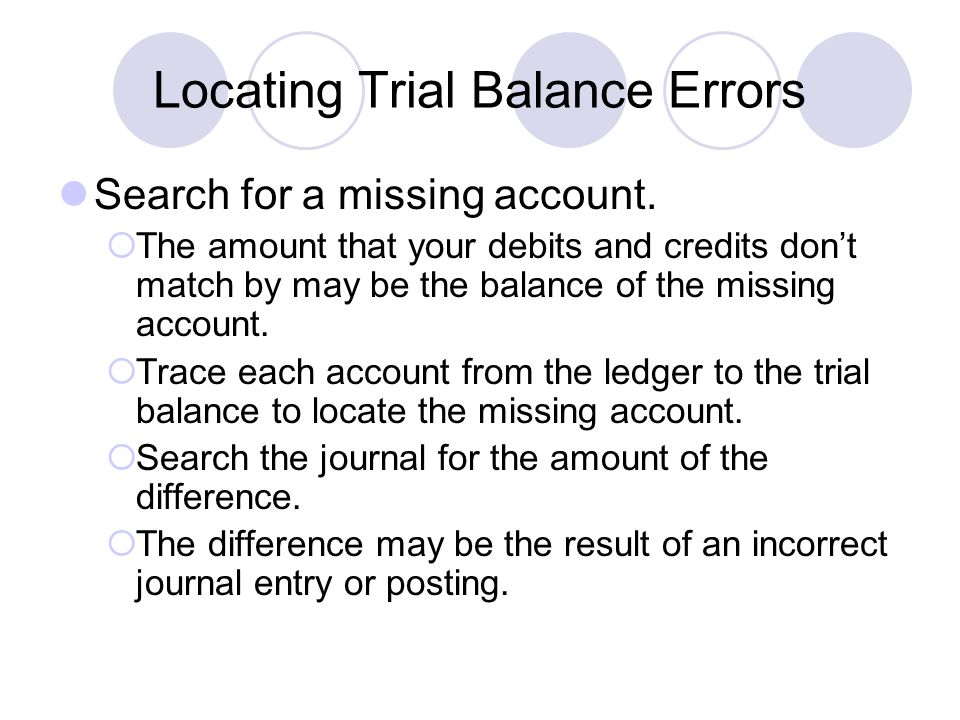 Locating Trial Balance Errors Search for a missing account.  The amount that your debits and credits don't match by may be the balance of the missing