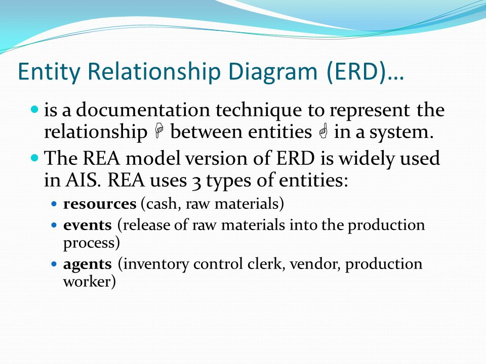 Entity Relationship Diagram (ERD)… is a documentation technique to represent the relationship  between entities  in a system. The REA model version