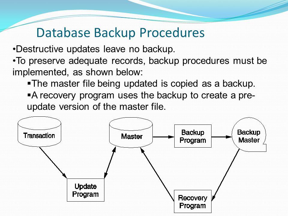 Database Backup Procedures Destructive updates leave no backup. To preserve adequate records, backup procedures must be implemented, as shown below: 