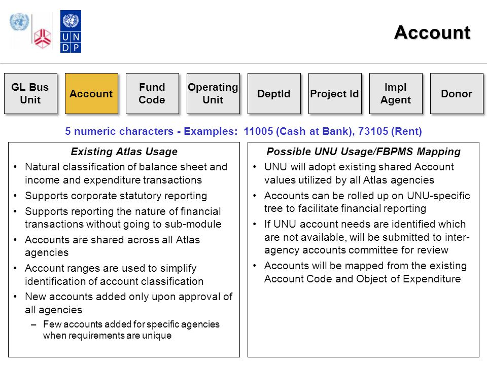 Account GL Bus Unit Account Fund Code Operating Unit DeptId Project Id Impl Agent Donor Existing Atlas Usage Natural classification of balance sheet and income and expenditure transactions Supports corporate statutory reporting Supports reporting the nature of financial transactions without going to sub-module Accounts are shared across all Atlas agencies Account ranges are used to simplify identification of account classification New accounts added only upon approval of all agencies –Few accounts added for specific agencies when requirements are unique 5 numeric characters - Examples: 11005 (Cash at Bank), 73105 (Rent) Possible UNU Usage/FBPMS Mapping UNU will adopt existing shared Account values utilized by all Atlas agencies Accounts can be rolled up on UNU-specific tree to facilitate financial reporting If UNU account needs are identified which are not available, will be submitted to inter- agency accounts committee for review Accounts will be mapped from the existing Account Code and Object of Expenditure