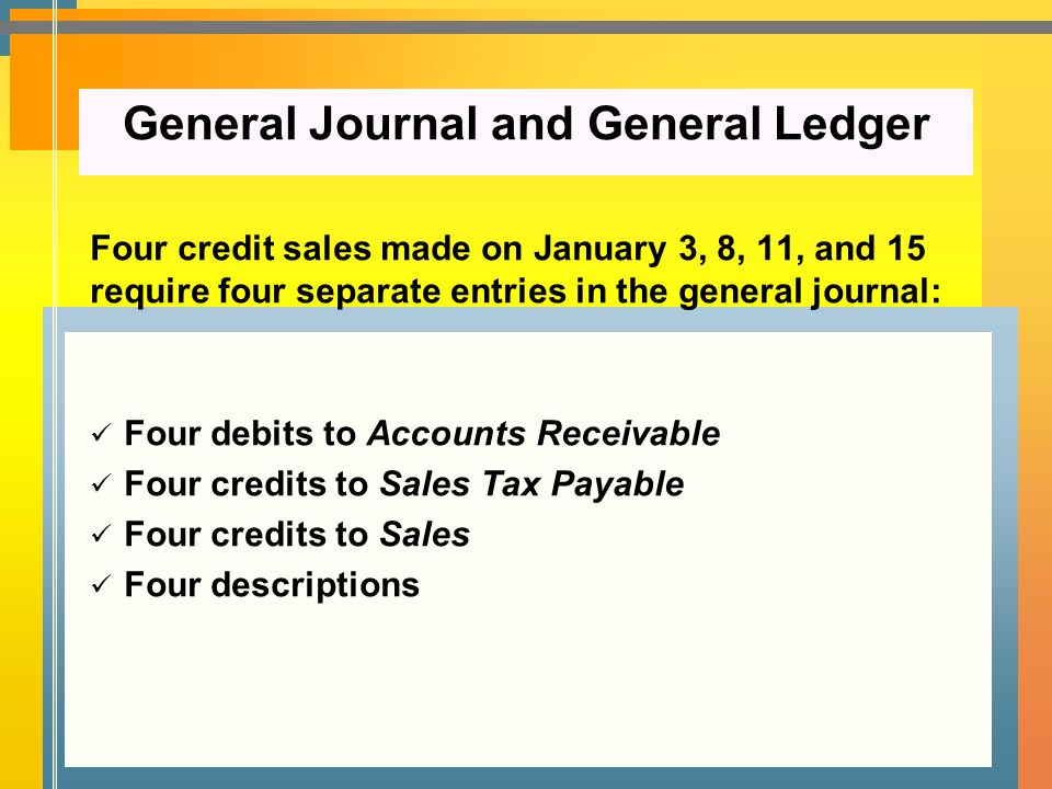 Four credit sales made on January 3, 8, 11, and 15 require four separate entries in the general journal: Four debits to Accounts Receivable Four credi