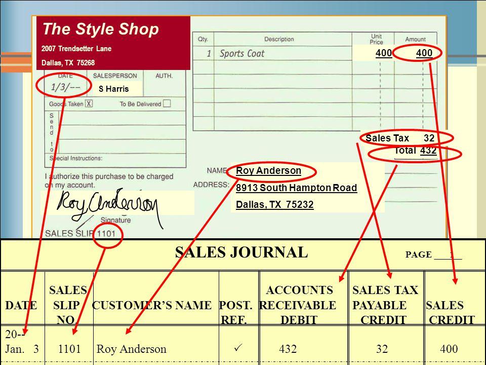 7-15 The Style Shop 2007 Trendsetter Lane Dallas, TX 75268 Roy Anderson 8913 South Hampton Road Dallas, TX 75232 400 Sales Tax 32 400 Total 432 S Harr
