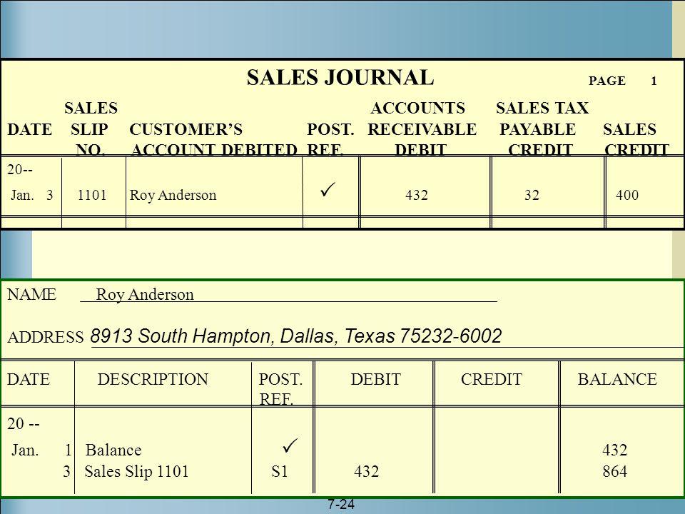 7-24 SALES JOURNAL PAGE 1 SALES ACCOUNTS SALES TAX DATE SLIP CUSTOMER'S POST. RECEIVABLE PAYABLE SALES NO. ACCOUNT DEBITED REF. DEBIT CREDIT CREDIT 20
