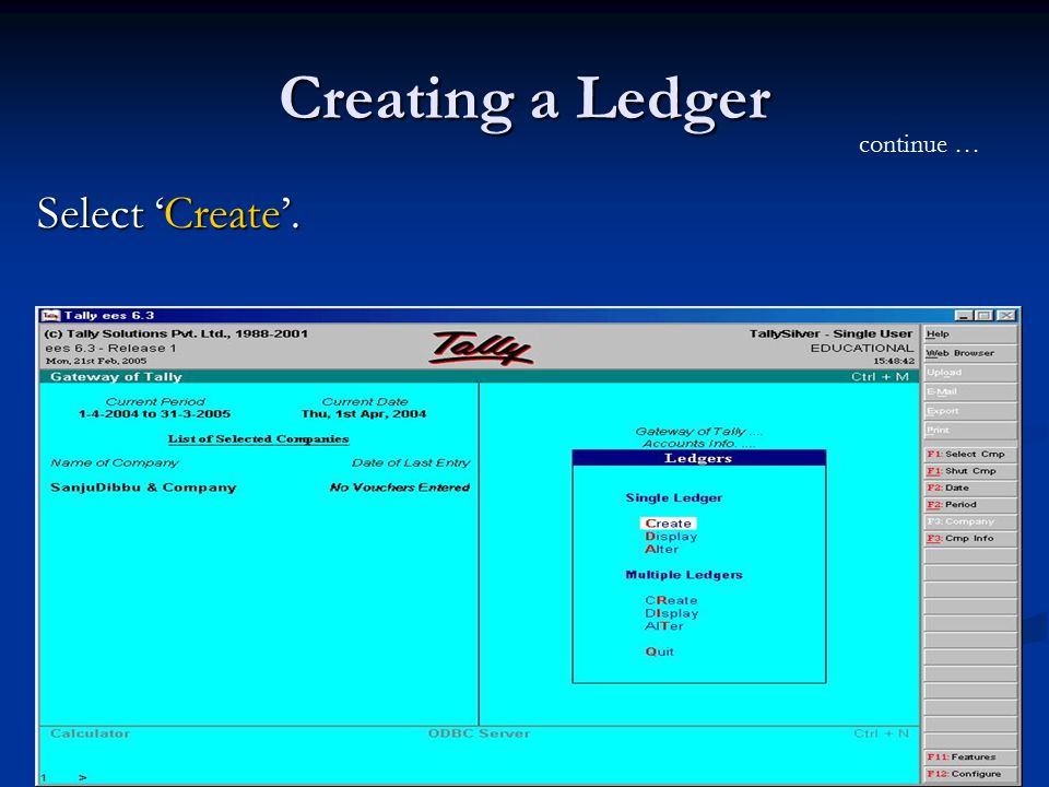 Creating a Ledger Select 'Create'. continue …