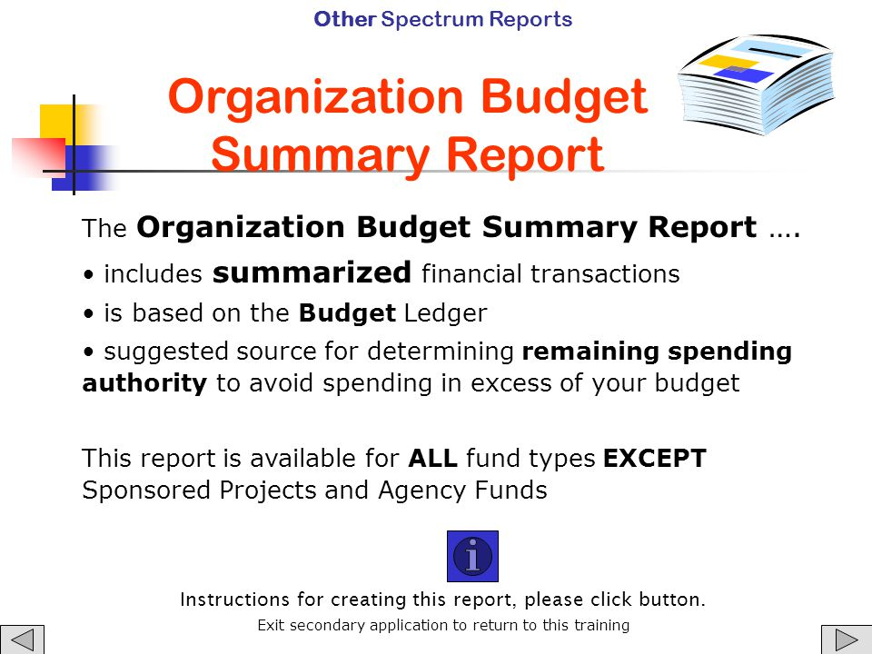 Organization Budget Summary Report Other Spectrum Reports The Organization Budget Summary Report ….