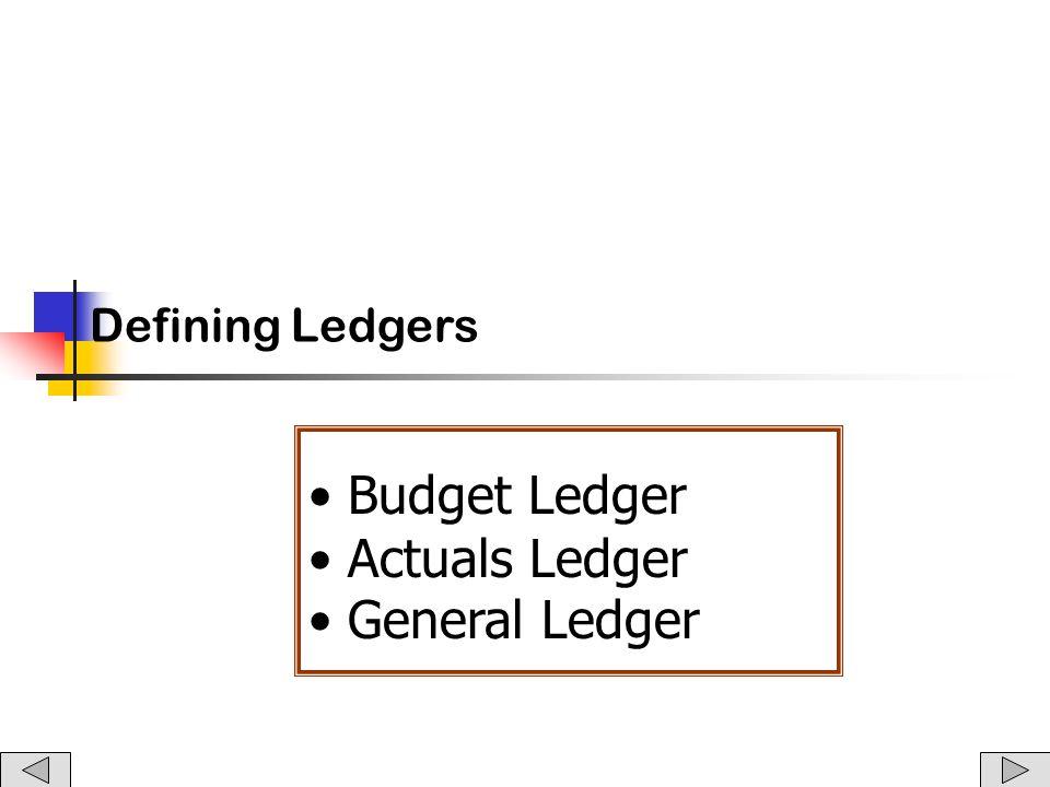 Defining Ledgers Budget Ledger Actuals Ledger General Ledger