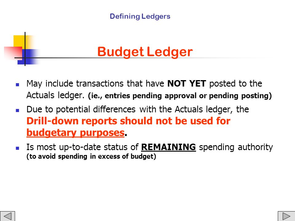 Budget Ledger May include transactions that have NOT YET posted to the Actuals ledger.