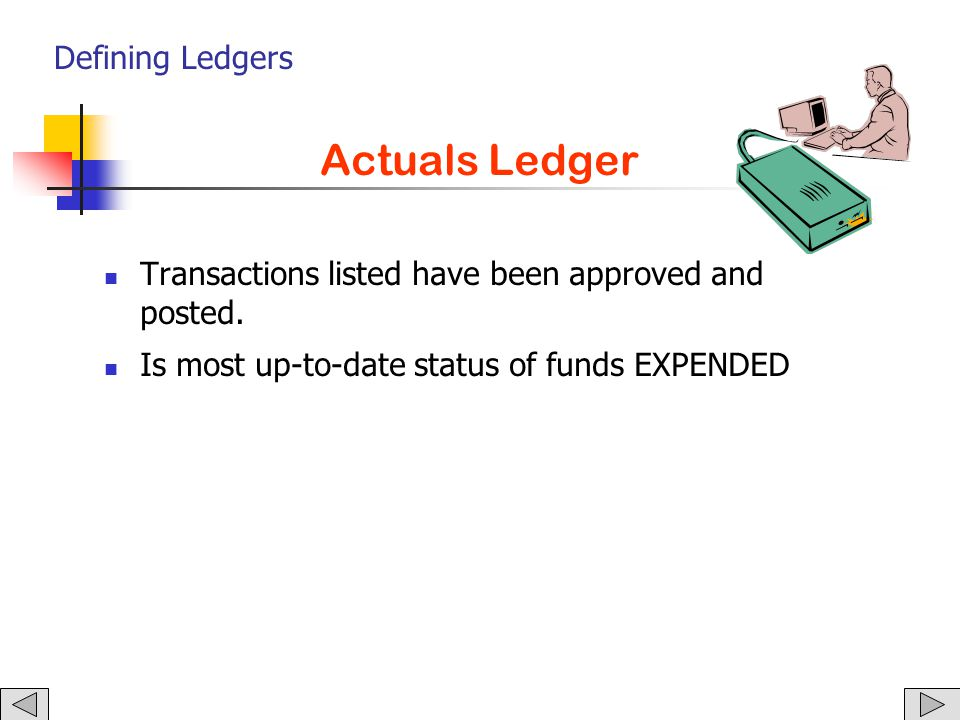 Defining Ledgers General Ledger The GENERAL LEDGER constitutes the official accounting books for the University.