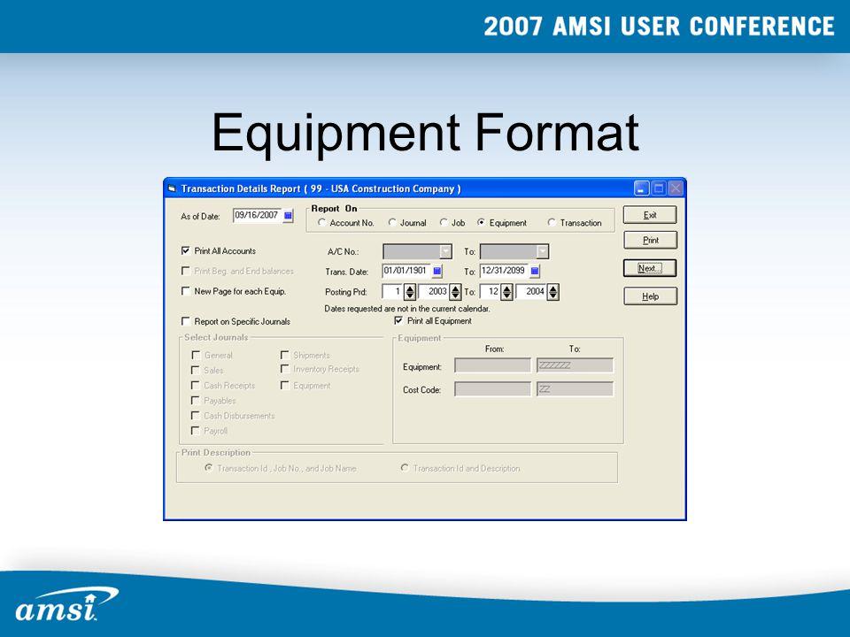 Equipment Format