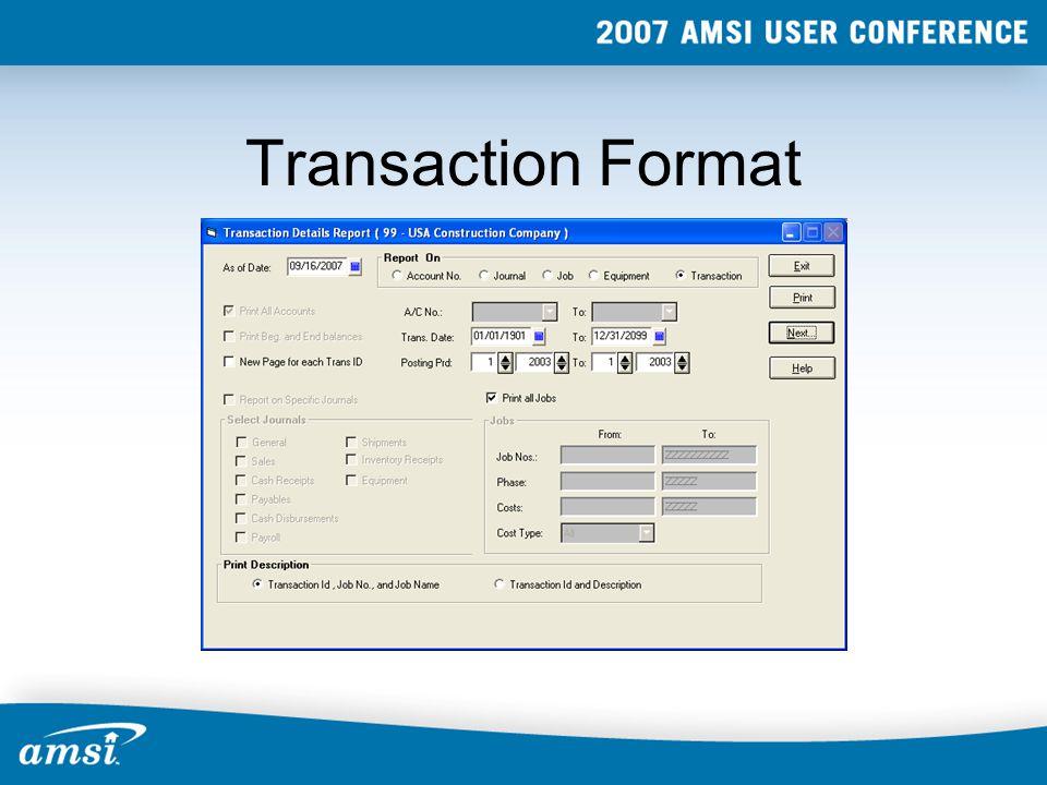 Transaction Format