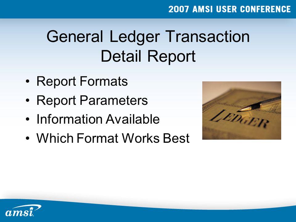 Report Formats Account Journal Job Equipment Transaction