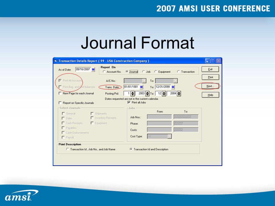 Journal Format