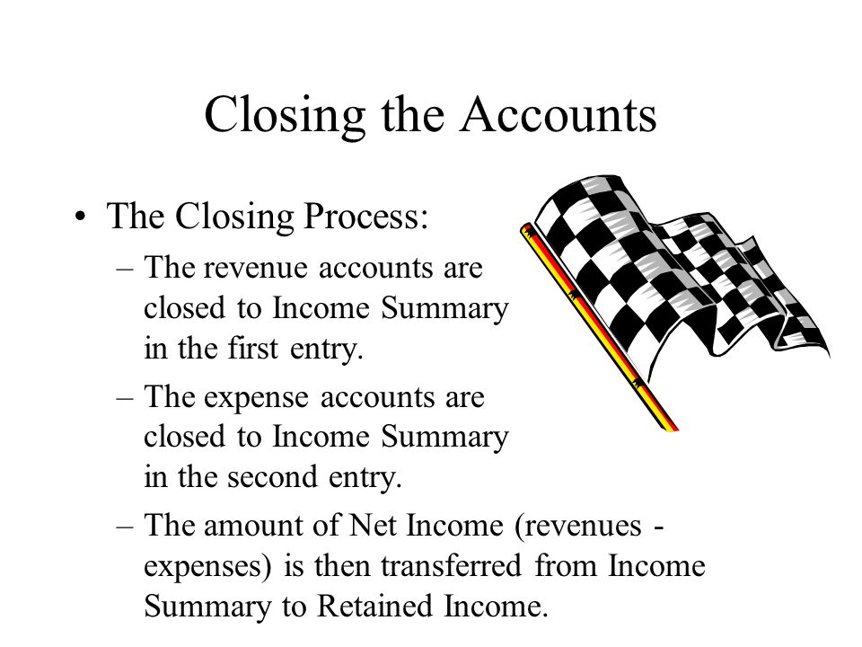 Closing the Accounts The Closing Process: –The revenue accounts are closed to Income Summary in the first entry.