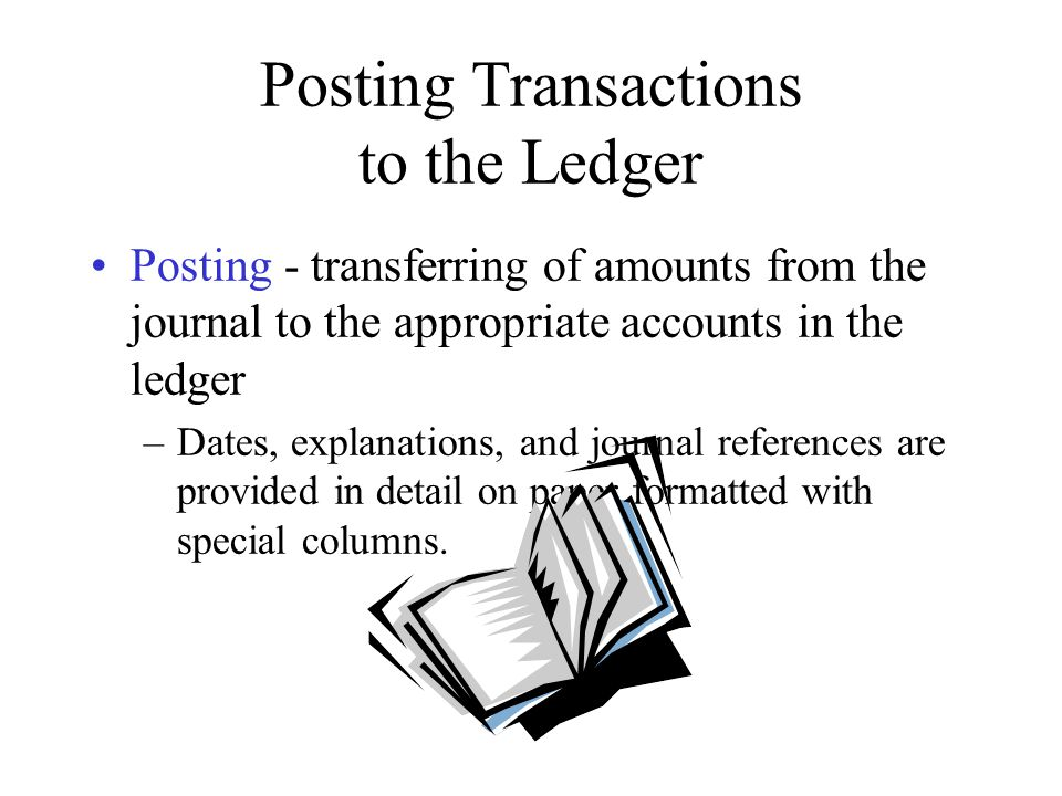 Posting Transactions to the Ledger Cross-referencing - the process of numbering or otherwise specifically identifying each journal entry and each posting –Transactions are often posted to several different accounts, but cross-referencing allows users to find all components of a transaction in the ledger no matter where they start.