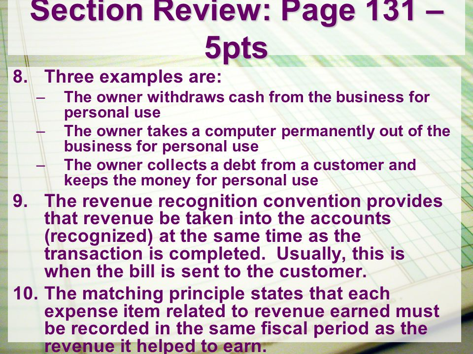 Section Review: Page 140 – 3pts 1.A chart of accounts is a list of accounts and their account numbers in ledger order.