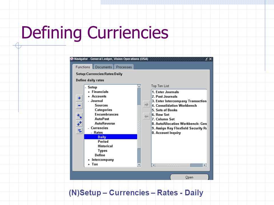 Defining Curriencies (N)Setup – Currencies – Rates - Daily
