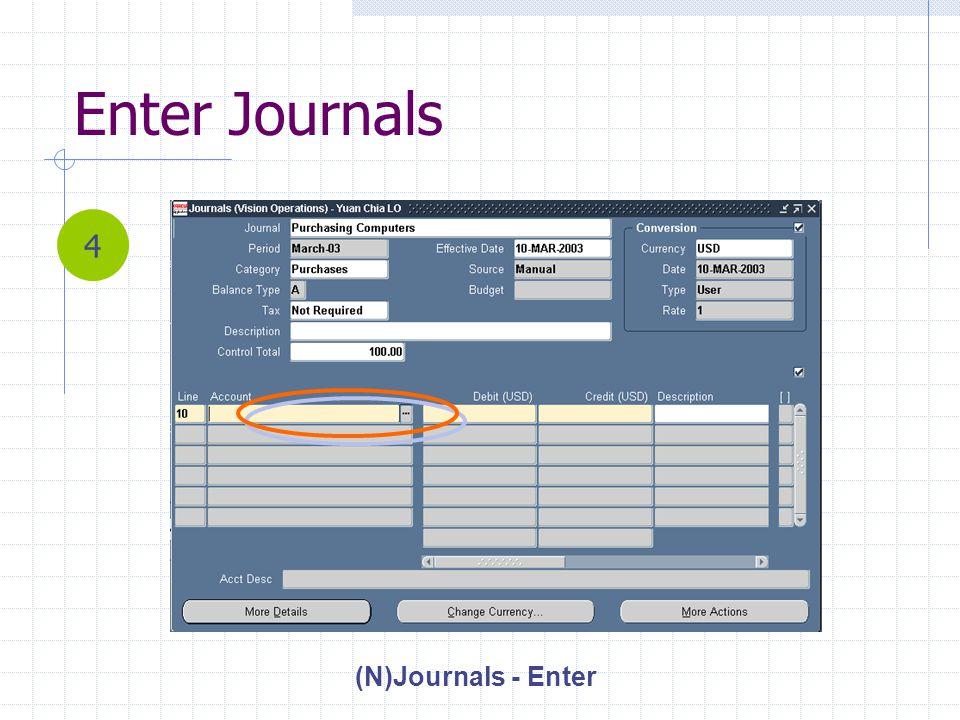 Enter Journals (N)Journals - Enter 4