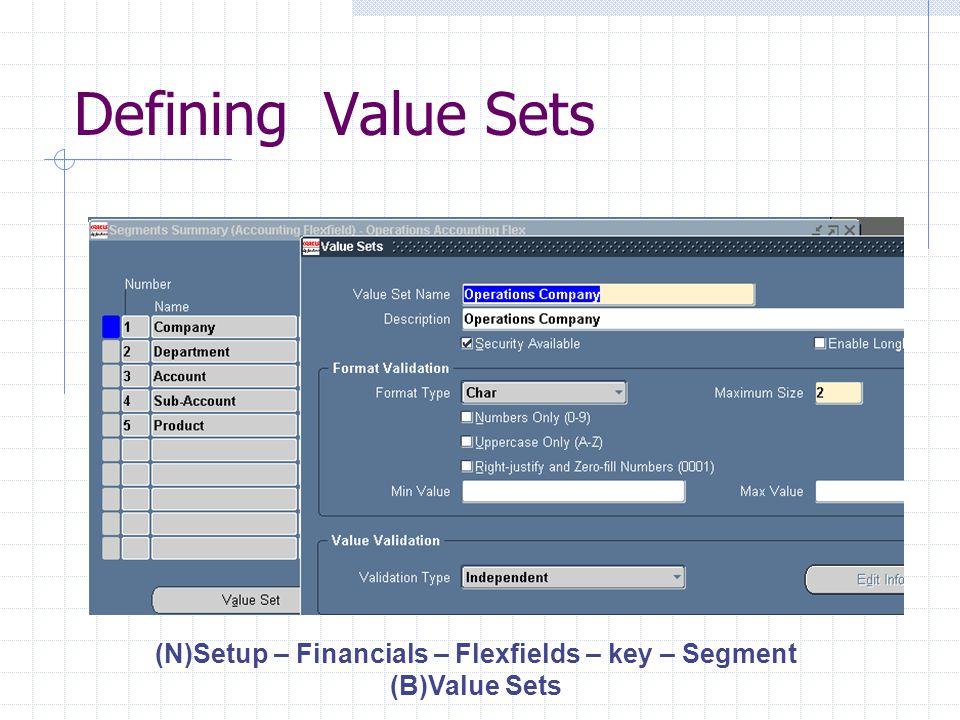 Enter Values (N)Setup – Financials – Flexfields – key - Values