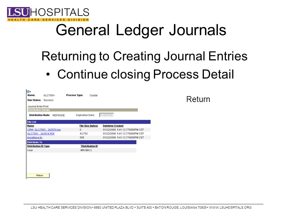 General Ledger Journals Returning to Creating Journal Entries Continue closing Process Detail Return LSU HEALTH CARE SERVICES DIVISION 8550 UNITED PLAZA BLVD SUITE 400 BATON ROUGE, LOUISIANA 70809 WWW.LSUHOSPITALS.ORG