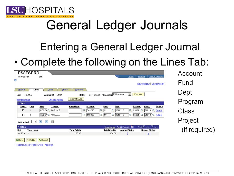General Ledger Journals Entering a General Ledger Journal Complete the following on the Lines Tab: Account Fund Dept Program Class Project (if required) LSU HEALTH CARE SERVICES DIVISION 8550 UNITED PLAZA BLVD SUITE 400 BATON ROUGE, LOUISIANA 70809 WWW.LSUHOSPITALS.ORG