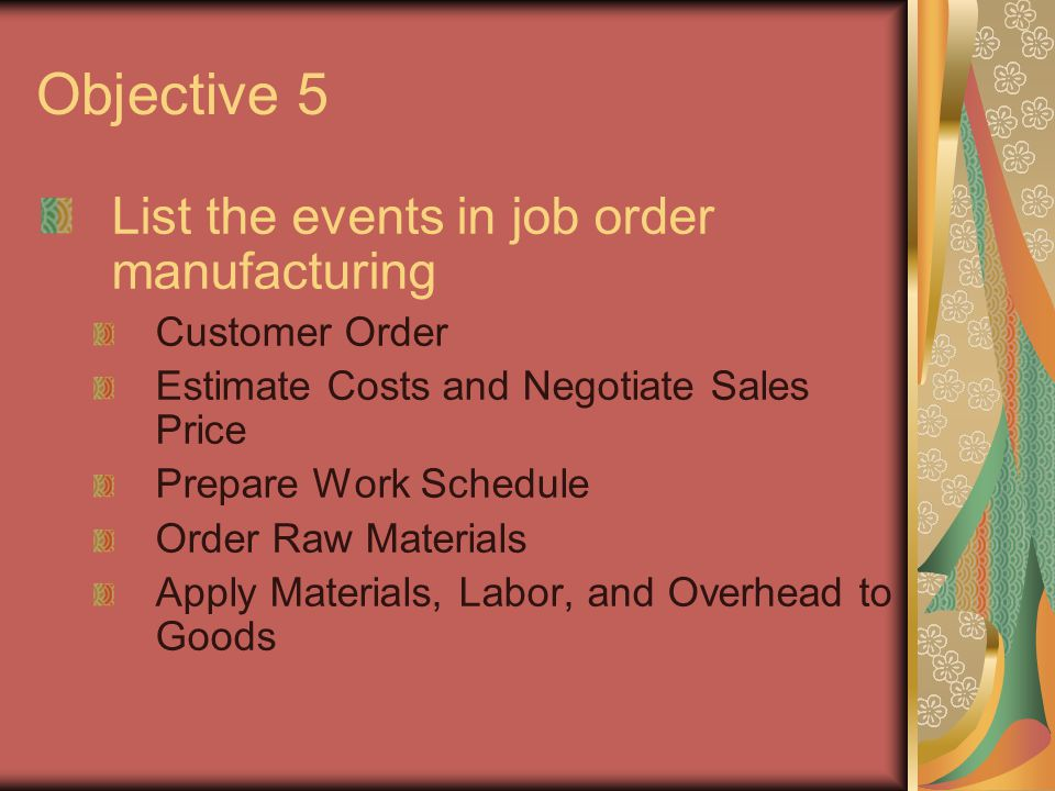 Objective 6 Define the following documents and explain how they interact in a job order cost accounting system