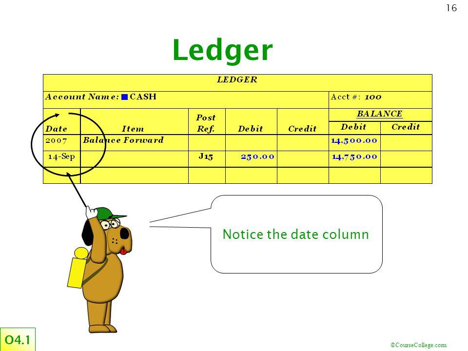 ©CourseCollege.com 16 Ledger Notice the date column O4.1