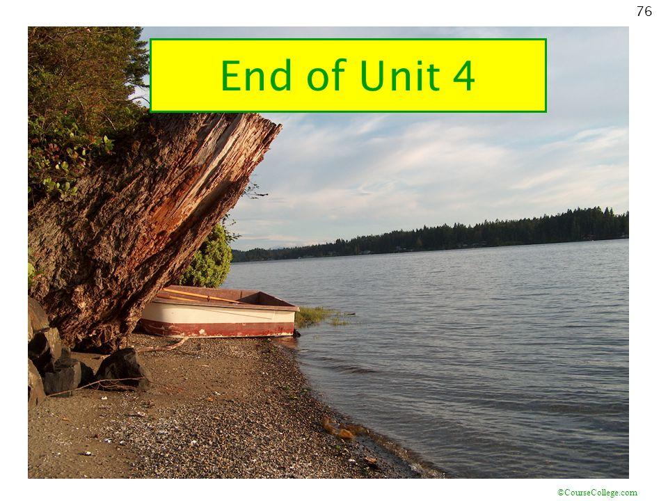 ©CourseCollege.com 76 End of Unit 4