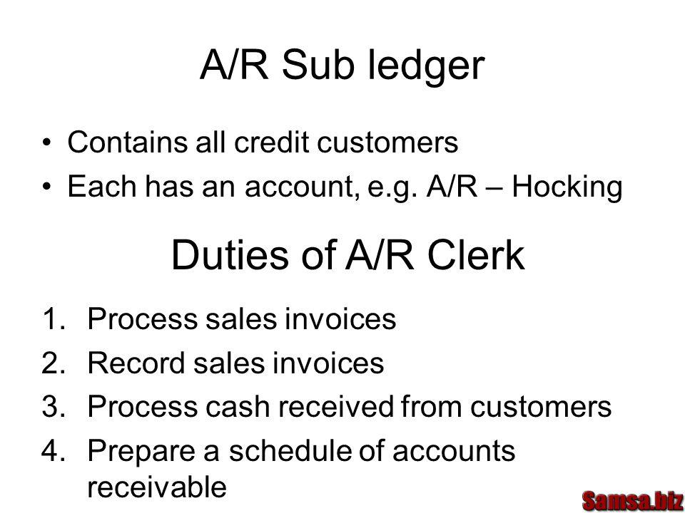 A/R Sub ledger Contains all credit customers Each has an account, e.g.