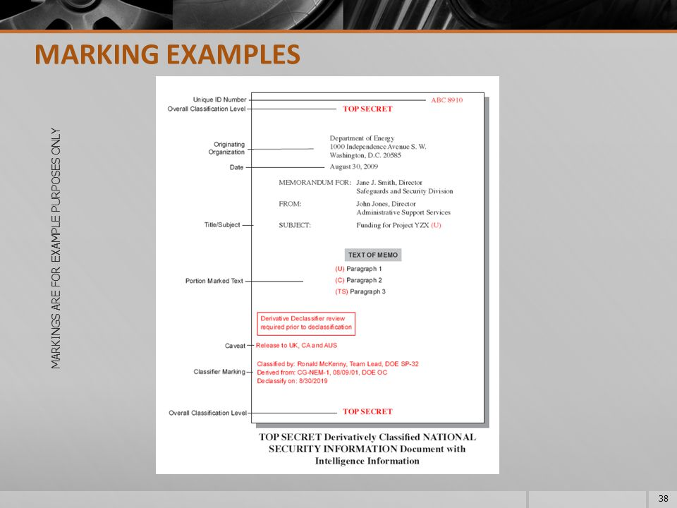 MARKINGS ARE FOR EXAMPLE PURPOSES ONLY 38 MARKING EXAMPLES