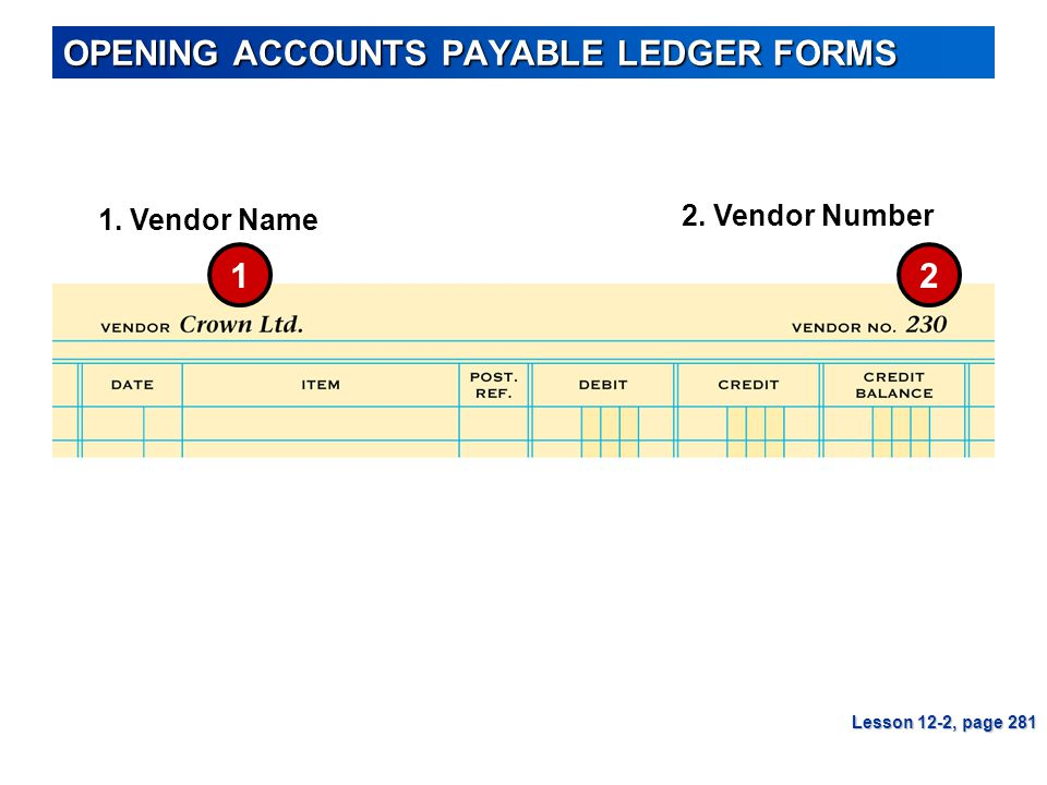 OPENING ACCOUNTS PAYABLE LEDGER FORMS Lesson 12-2, page 281 1. Vendor Name 2. Vendor Number 12