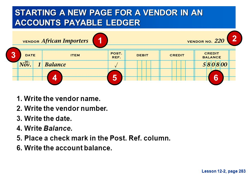 STARTING A NEW PAGE FOR A VENDOR IN AN ACCOUNTS PAYABLE LEDGER Lesson 12-2, page 283 5 1 3 4 2 3.Write the date. 1. Write the vendor name. 5.Place a c